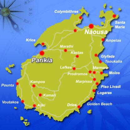 Map Of Paros Greek Islands